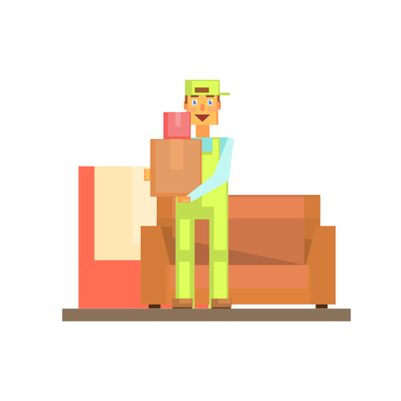 resettlement: Workman Holding Boxes With Sofa Behind 8-bit Abstract Primitive Flat Vector Illustration On White Background