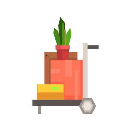 resettlement: Trolley Loaded With Boxea And Plant  8-bit Abstract Primitive Flat Vector Illustration On White Background