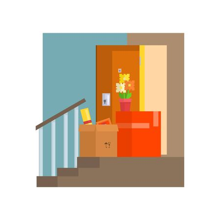 resettlement: Staircase With Half Painted Wall And Boxes  8-bit Abstract Primitive Flat Vector Illustration On White Background