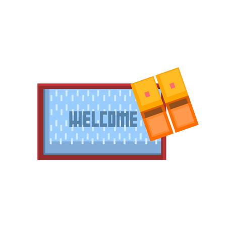 welcoming: Threshols Welcoming Carpet And Slippers 8-bit Abstract Primitive Flat Vector Illustration On White Background Illustration