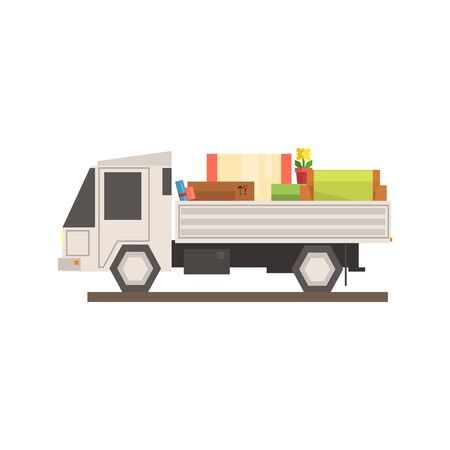Loaded Moving Truck 8-bit Abstract Primitive Flat Vector Illustration On White Background Иллюстрация