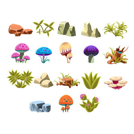 block of flats: Video Game Lanscaping Flat Vector Design Icons Set Of Isolated Items on White Background Illustration