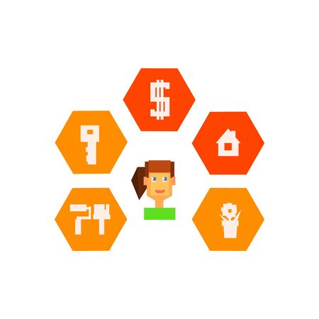 resettlement: Woman Surrounded By Resettlement Icons  8-bit Abstract Primitive Flat Vector Illustration On White Background