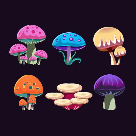 Fantastische Pilze Bunte kreative Flach Vector Design Ansammlung Getrennte Symbol auf schwarzem Hintergrund