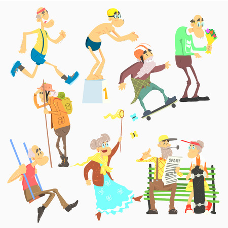 couple hiking: Old People Activities, Flat Vector Illustration Collection
