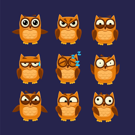 Brown Owl Emoji Collection Flat Vector Cartoon Style Funny Drawing On Dark Blue Backgroud Illustration