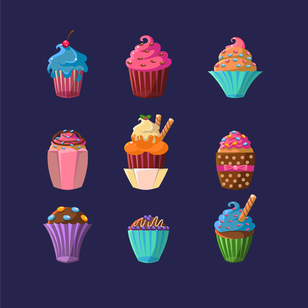 cupcake illustration: Colorful Cupcakes Set Flat Vector Cartoon Style Funny Drawing On Dark Blue Backgroud