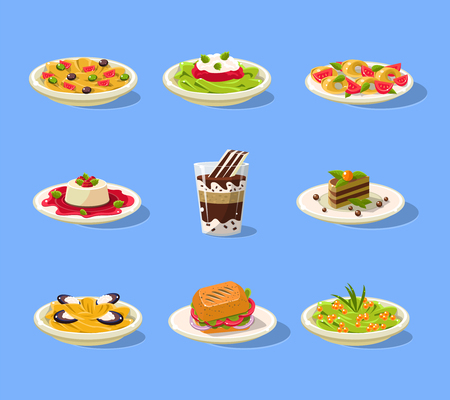 main course: Italian Dish Set Flat Vector Cartoon Style Funny Drawing On Light Blue Backgroud