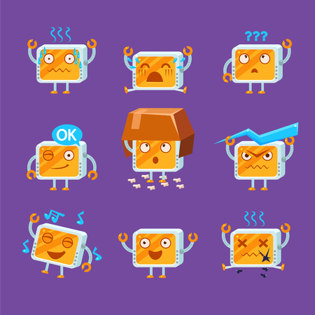 cartoon singing: Little Robot Emoji Flat Vector Cartoon Style Funny Drawing On Violet Background