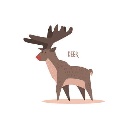 tundra: Deer Drawing For Arctic Animals Collection Of Flat Vector Illustration In Creative Style On White Background