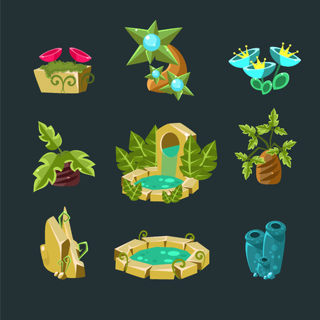 garden fountain: Landscpe Elements Collection For Video Game Creation In Fantasy Style Isolated Objects On Black Background