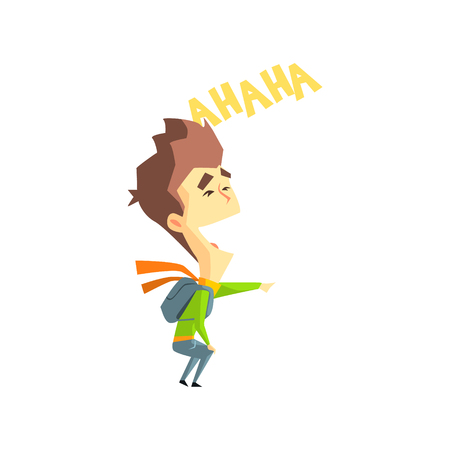 hysterical: Laughing Boy Flat Vector Emotion Illustration In Graphic Style Isolated On White Background