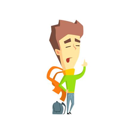 supercilious: Arrogant Boy Flat Vector Emotion Illustration In Graphic Style Isolated On White Background Illustration
