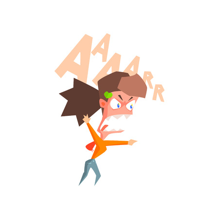 Infuriated Fille Flat Vector Emotion Illustration In Style graphique isolé sur fond blanc