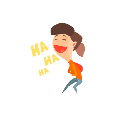 白い背景で隔離のグラフィック スタイルの女の子フラット ベクトル感情図を笑ってください。  イラスト・ベクター素材