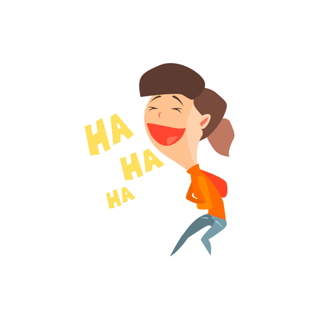 Laughing Girl Flat Vector Emotion Illustration In Graphic Style Isolated On White Background Çizim