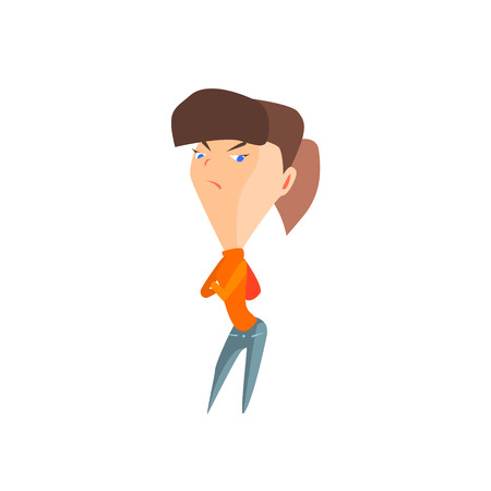 resentful: Resentful Girl Flat Vector Emotion Illustration In Graphic Style Isolated On White Background Illustration