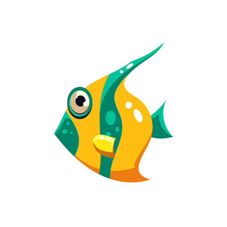 sea life: Striped Fish. Cute Illustration Collection of sea life