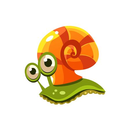 cute cartoon animals: Snail. Cute Illustration Collection of sea life