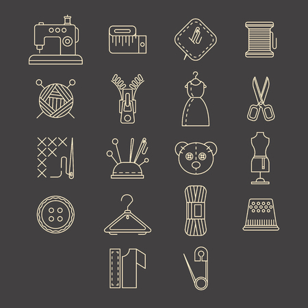 needle cushion: sewing equipment and needlework icons set Illustration