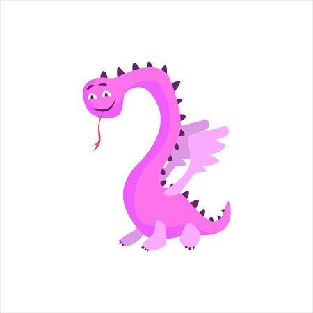 ピンクのドラゴンっぽいモンスター フラットの漫画のスタイルの分離されたベクトルの白い背景のデザイン印刷