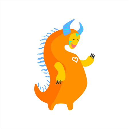 toy chest: Orange Fat Childish Monster With Blue Horns Flat Cartoon Style Isolated Vector Design Print On White Background Illustration