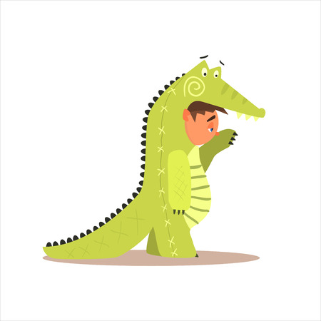 disguised: Boy Desguised As Crocodile Flat Isolated Vector Image In Cartoon Style On White Background