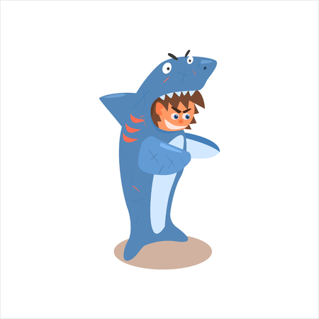 disguised: Boy Desguised As Shark Flat Isolated Vector Image In Cartoon Style On White Background