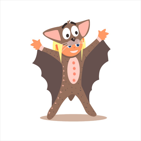 Girl Desguised As Bat Flat Isolated Vector Image In Cartoon Style On White Background Illustration