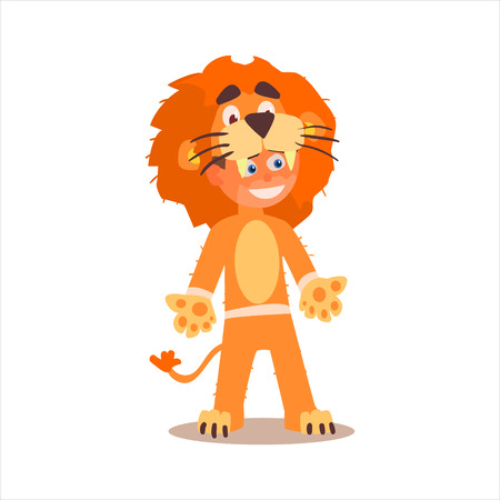disguised: Boy Desguised As Lion Flat Isolated Vector Image In Cartoon Style On White Background Illustration