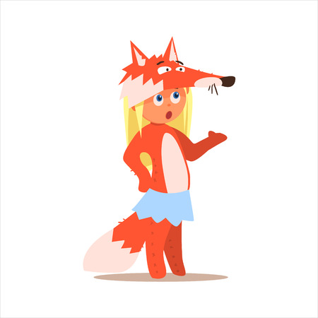 disguised: Girl Desguised As Fox Flat Isolated Vector Image In Cartoon Style On White Background