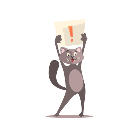 exclamation point: Cat Holding Paper With Exclamation Point Funny Childish Colorful Flat Vector Illustration On White Background
