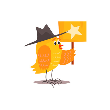 childish: Chick Holding Plaque With Star Funny Childish Colorful Flat Vector Illustration On White Background Illustration