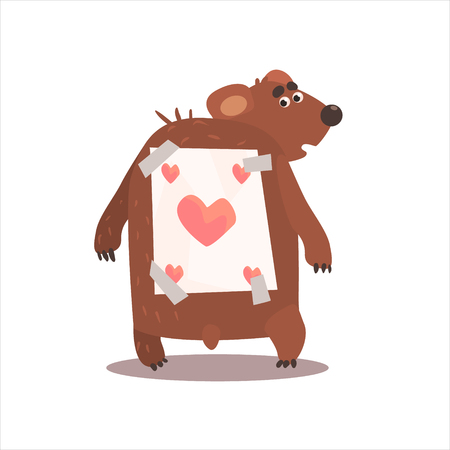 glued: Bear With A Paper Stick To Back Funny Childish Colorful Flat Vector Illustration On White Background Illustration