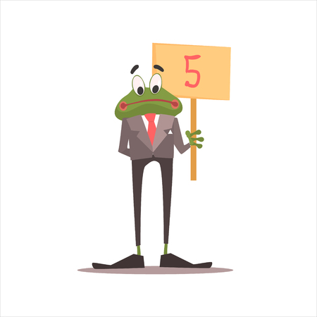 Frog Holding 5 Sign Funny Childish Colorful Flat Vector Illustration On White Background