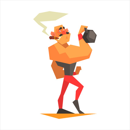 showmanship: Circus Strongman Performing Graphic Flat Vector Design Isolated Illustration On White Background