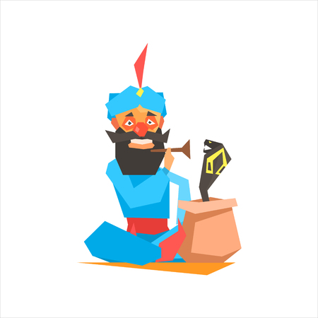 performing arts: Circus Snake Charmer Performing Graphic Flat Vector Design Isolated Illustration On White Background
