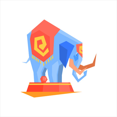trained: Circus Trained Elephant Graphic Flat Vector Design Isolated Illustration On White Background