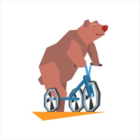 showmanship: Circus Bear Riding Tricycle Graphic Flat Vector Design Isolated Illustration On White Background Illustration
