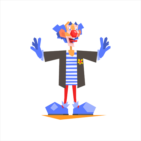 performing arts: Circus Blue Clown Performing Graphic Flat Vector Design Isolated Illustration On White Background