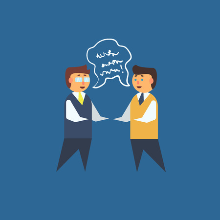 unreadable: Two Man Having Discussion Primitive Graphic Style Flat Vector Icon On Blue Background