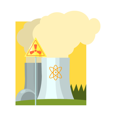 powerhouse: Alternative Energy Nuclear Power Flat Vector Illustration In Simplified Style Illustration