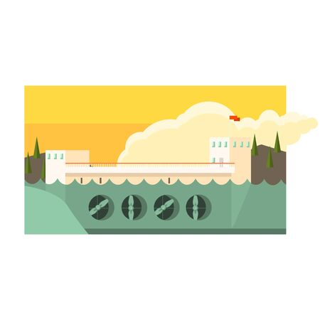 hydropower: Alternative Energy Hydropower Flat Vector Illustration In Simplified Style Illustration
