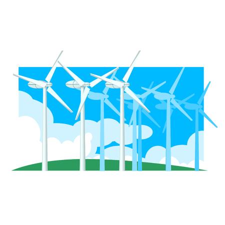 windfarm: Alternative Energy Wind Power Flat Vector Illustration In Simplified Style Illustration