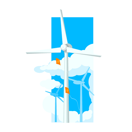 wind farm: Alternative Energy Wind Farm Flat Vector Illustration In Simplified Style