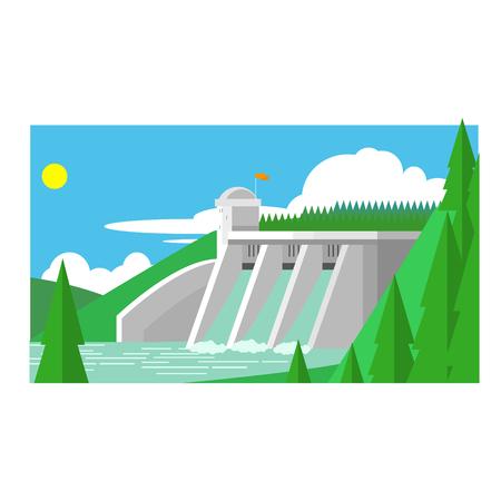 dam: Alternative Energy Dam Flat Vector Illustration In Simplified Style Illustration