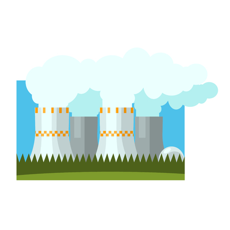 powerhouse: Industrial Chimneys Illustration Flat Vector Illustration In Simplified Style