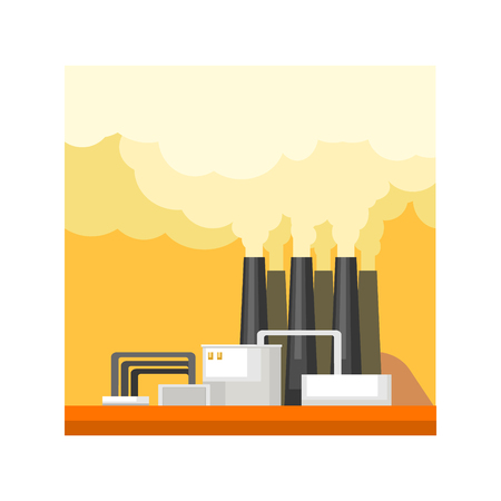 powerhouse: Industrial Factory Building Flat Vector Illustration In Simplified Style