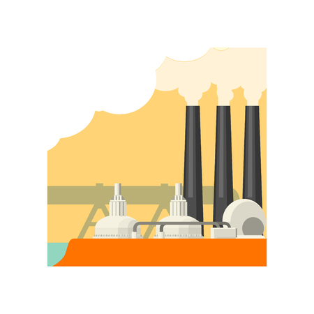 powerhouse: Industrial Building With Three Chimneys Flat Vector Illustration In Simplified Style Illustration