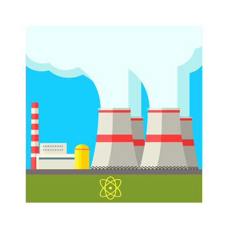powerhouse: Atomic Power Station Flat Vector Illustration In Simplified Style
